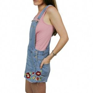 lovetree embroidered overalls